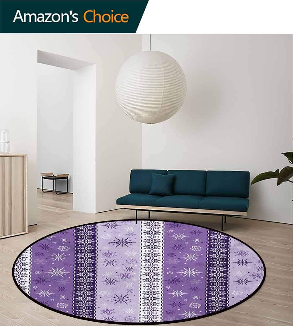 Ethnic Modern Machine Washable Round Bath Mat,Arabesque Scroll Western Christmas Snowflakes Middle Eastern Noel Print Non-Slip Living Room Soft Floor Mat,Diameter-71 Inch Lavender Violet White