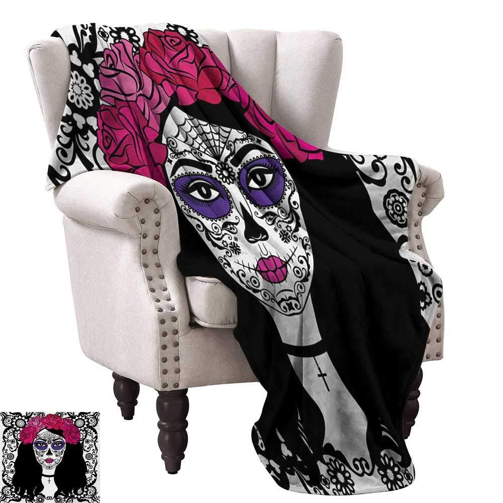 Anyangeight デジタルプリントブランケット お祭り 墓地 メキシコ 儀式的 フィギュア マスク デザイン ブラック 背景 プリント 127cm x 76.2cm スーパーソフト 快適 ソファ 椅子 ベッドに最適 90