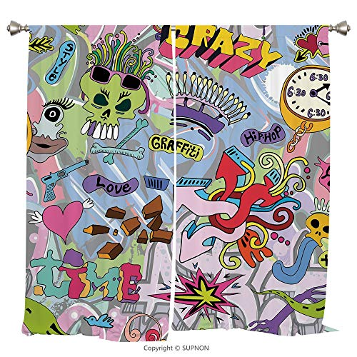 anel Thermal Insulated Blackout Curtains for Bedroom Living Room Dorm Kitchen Cafe/2 Curtain Panels/108 x 84 Inch/Art,Hip Hop Inspired Colorful Graffiti Doodle Crazy Love Time Cool ()