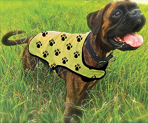 (Canine Chiller,PVA Cooling Vest for Dogs, Yellow with Black Paw Prints (LG) )