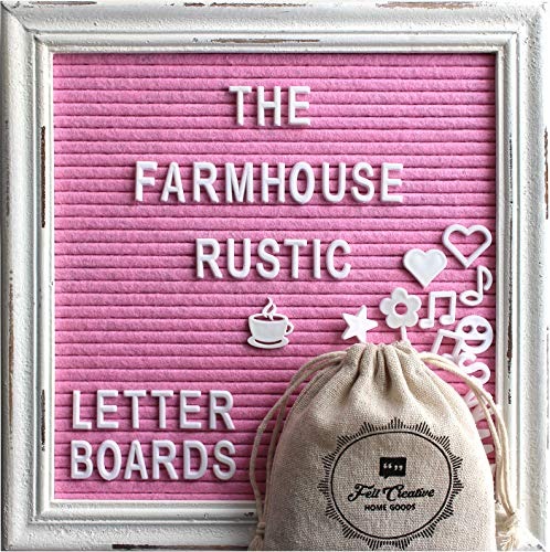 Pink Felt Letter Board Rustic White Wood Farmhouse Vintage Frame and Stand by Felt Creative Home Goods | 10quotx10quot Changeable Nursery Baby Announcement Board 350 White Alphabet Letters Numbers Emojis