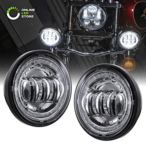 "2pc 4.5"" Round LED Passing/Fog Light [Chrome Housing] [Halo White DRLs w/Red Accents] [Amber Turn Signals] Auxiliary Driving Lamp for Harley Davidson Motorcycles"