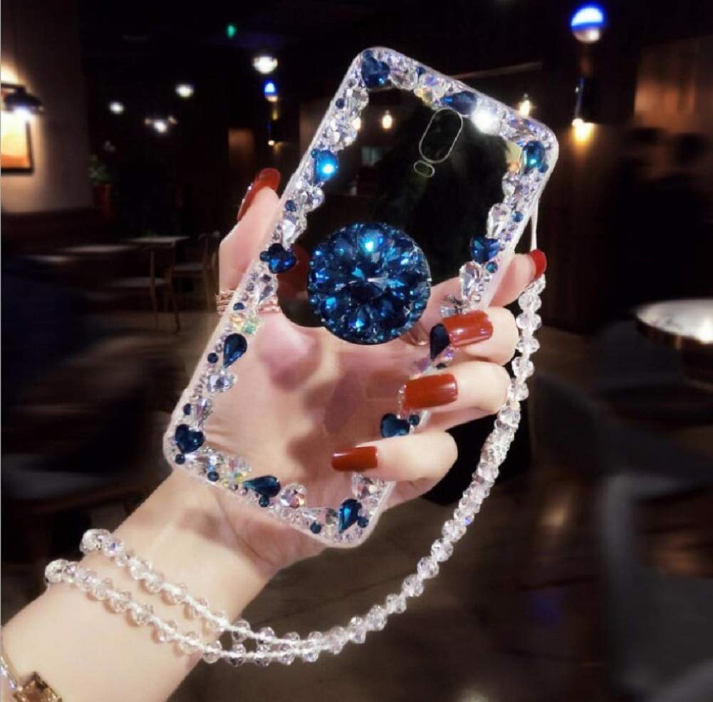 Amocase Diamond Clear Case with 2 in 1 Stylus for Samsung Galaxy A8 2018,Luxury Girly 3D Handmade Gemstone Soft Rubber Bumper Ring Stand Holder Bling Case with Crystal Neck Lanyard - Blue