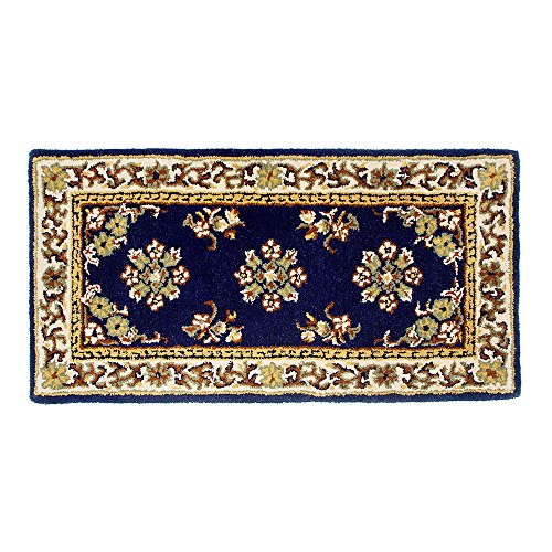 Minuteman International Blue Oriental Wool Hearth Rug,Rectangular - Oriental Virgin Wool Hearth Rug