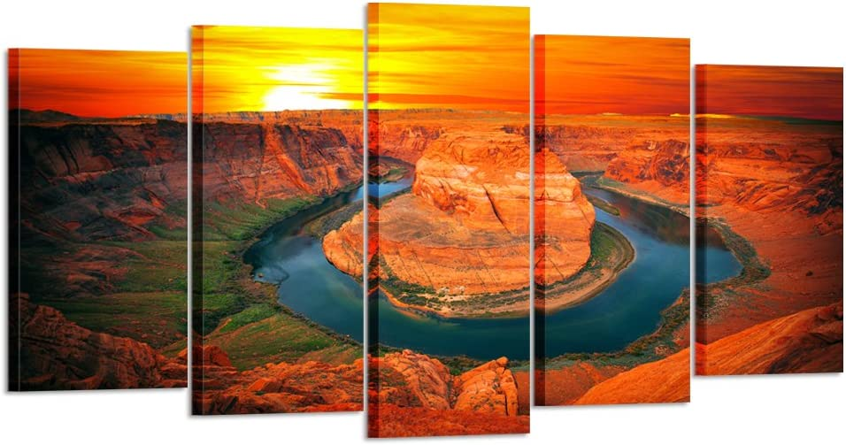Kreative Arts - Large 5 Piece Canvas Wall Art Sunset Moment at Horseshoe Bend Colorado River Grand Canyon National Park Arizona USA Poster Art Prints Pictures for Home Walls (Large Size 60x32inch)
