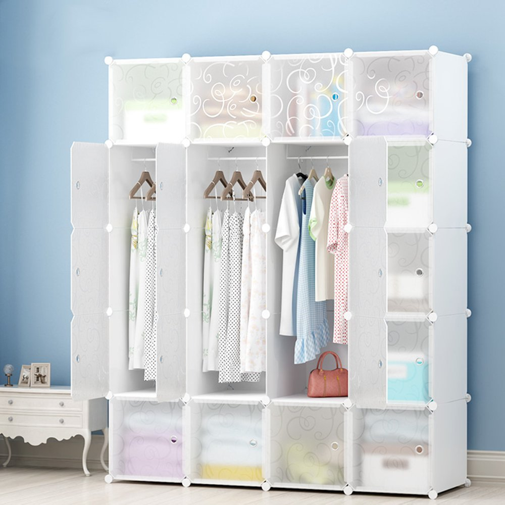 MEGAFUTURE DIY Portable Wardrobe Clothes Closet Modular Storage Organizer Space Saving Armoire Deeper Cube With Hanging Rod 20 cubes by JOISCOPE