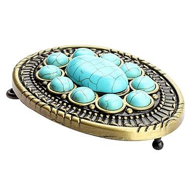 934680bc1e2 MagiDeal Boucle de Ceinture Vintage Antique Western avec Turquoise pour  Hommes Femmes - Bleu