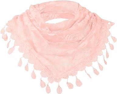 Women Lace Hollow Shawl Neck Soft Wrap Tassel Flower Floral Print Triangle Scarf