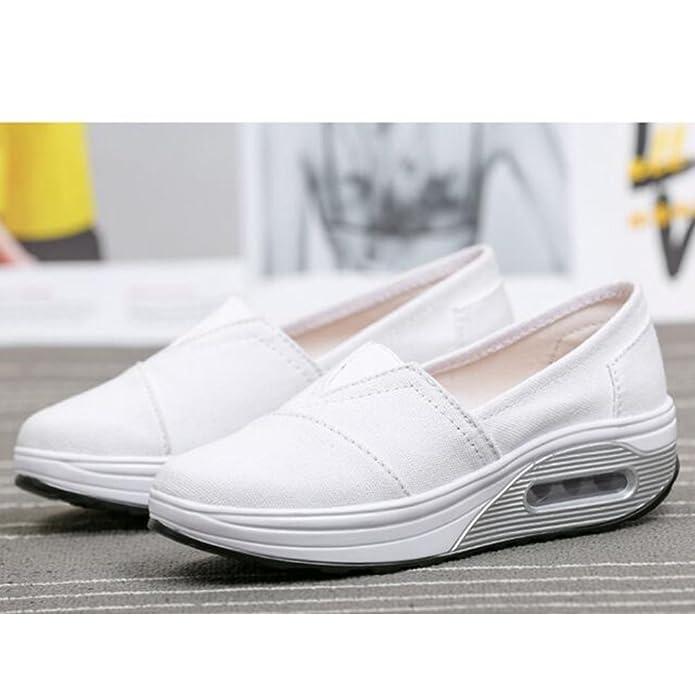 Mallimoda Donna Scarpe da Ginnastica Slip-On Tela in Alte Zeppa Outdoor Sneakers Bianca EU 35=Asian 35 tnG0Se