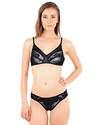 a1af61e7af8 Indistar Womens Cotton Black Sexy Push up Lace Embroidery Lingerie Balconette  Bra   Panty Set  28