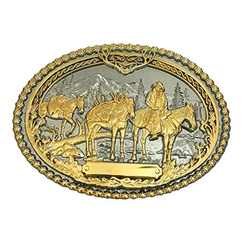 Montana Silversmith Pack Horses and Rider Two Tone Attitude Belt Buckle - 61333P