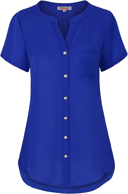 Misswor Womens Band Collar Roll Sleeve Button Down Chiffon Blouse Shirt