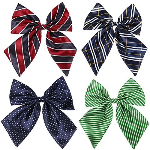 BMC Womens 4 Pack Various Pattern Adjustable Pre-Tied Bow Knot Tie Accessory Set