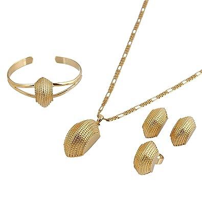 Amazoncom New Ethiopian Cross Jewelry Sets 24K Gold Plated Fashion