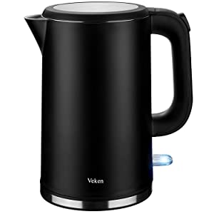 Veken Electric Kettle, 1.7L Double Wall 100% Stainless Steel Tea Water Heater Boiler, BPA-Free Cool Touch with Auto Shut-Off & Boil Dry Protection (Black)