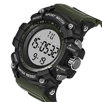 TrifyCore Reloj Digital Deportivo para Hombre de Moda Resistente al Agua Cronómetro Militar Cuenta Regresiva Reloj de Lectura Fácil 1Pc Verde: Amazon.es: ...