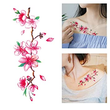 05b4ad774 Amazon.com : Wffo Pink Cute And sexy Flower Temporary Tattoos Stickers  Lotus Cherry Blossoms Flash Tattoo Sticker : Beauty