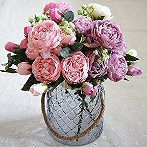 5 Heads Beautiful Peony Artificial Silk Flowers Small Bouquet Flores Home Party Spring Wedding Decoration Mariage Fake Flower 10