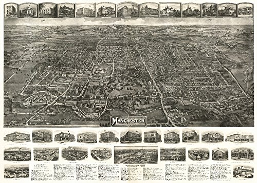Manchester, Connecticut - Panoramic Map (24x36 SIGNED Print Master Giclee Print w/Certificate of Authenticity - Wall Decor Travel Poster)