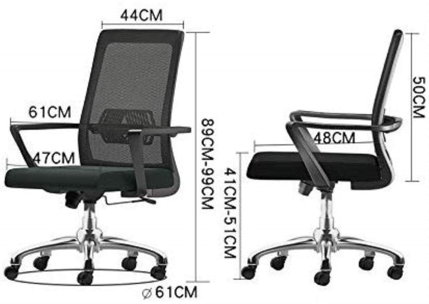 Skrivbordsstolar kontorsstol datorstol konferensstol ergonomisk rygg fåtölj kontor (färg: svart) Svart