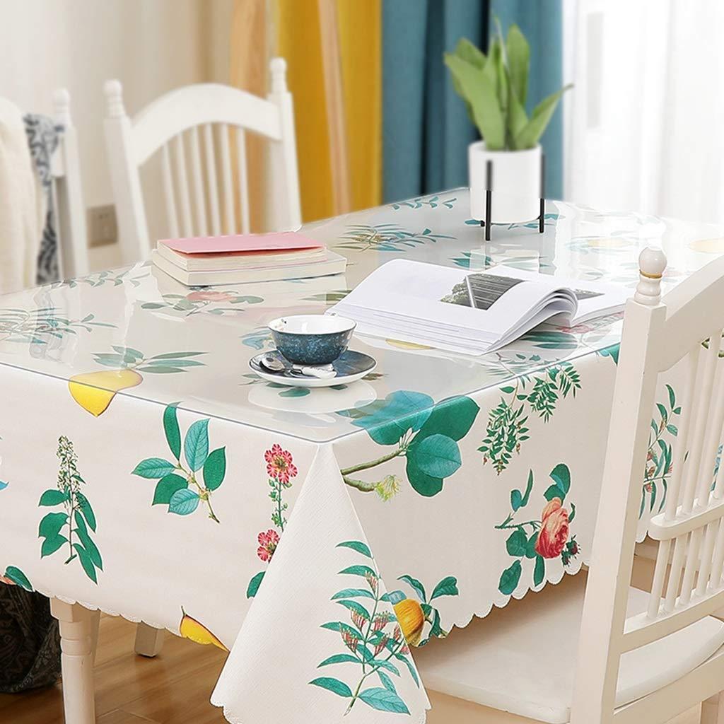 長方形のテーブルクロス、透明なPVC 1.3 mm厚いテーブルクロス+小さな新鮮なテーブルクロスの組み合わせセット CFJRB (Color : PVC+cloth, Size : 80X140+130X180cm) 80X140+130X180cm PVC+cloth B07SKH151H