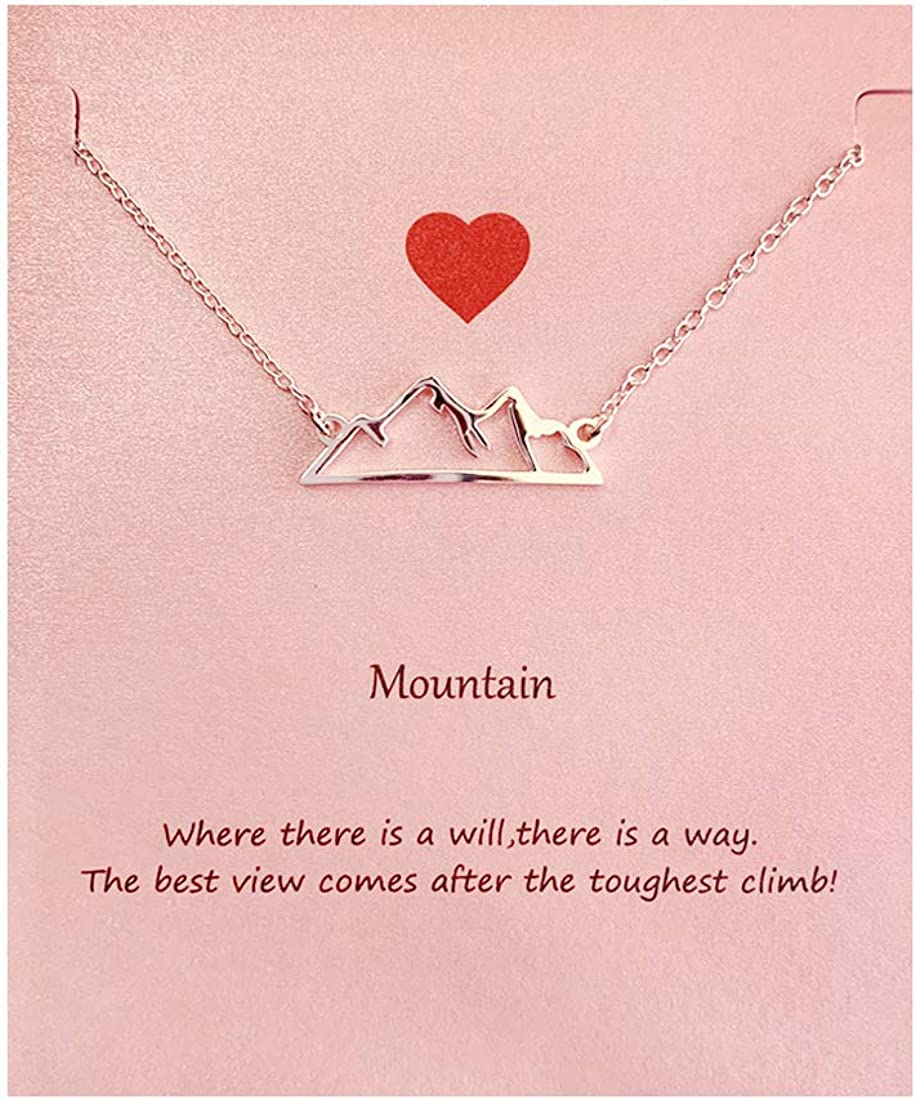 Your Always Charm Mountain Necklace,Snowy Mountain Necklace for Women,Nature Jewelry Gift for Skiers, Hikers, Campers, Climbers and Nature Lovers