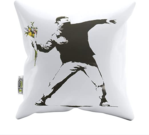 Amazon Com Zaza Banksy Pillow Cases Flower Thrower L Printed Soft Faux Suede Cushion Covers Home Kitchen