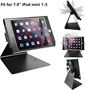 CarrieCathy iPad Desktop Anti-Theft Security Kiosk POS Stand Holder Enclosure with Lock and Key for Tablets iPad mini 1,2,3,4,5 Flip and Rotate Design, Black