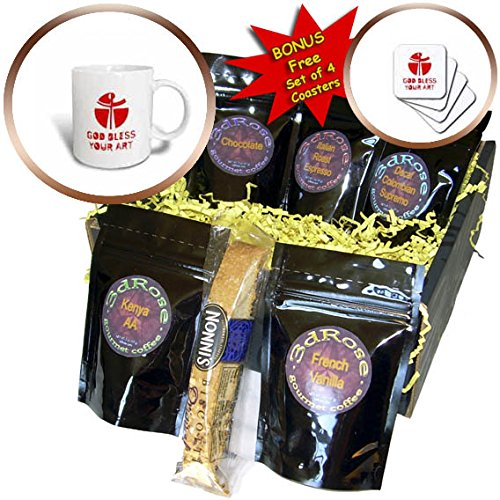 3dRose Alexis Design - Christian - Modernist cross, the text May God Bless Your Art red on white - Coffee Gift Baskets - Coffee Gift Basket (cgb_286207_1)