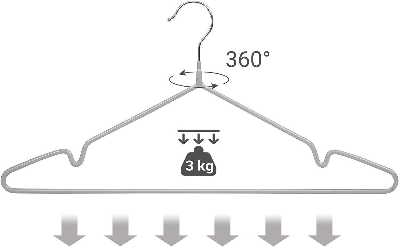 encoches pour Chemises Lot de 20 SONGMICS Cintres en m/étal rev/êtement PVC avec Crochets 360/° antid/érapants Robes Pantalons Gris CRI33G20