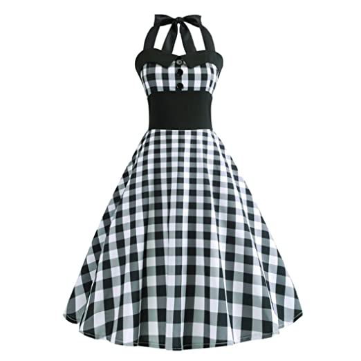 Vintage Plaid Retro Cocktail Prom Dresses 50s 60s Rockabilly Bandage Party Prom Dress (S,