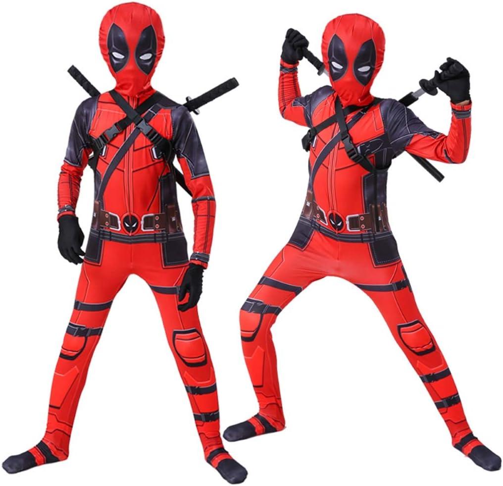 WQLESO Costumi per Bambini per Adulti in 3D Stile Deadpool Supereroe della Tuta della Tuta di Halloween Cosplay Anime Stage Performance