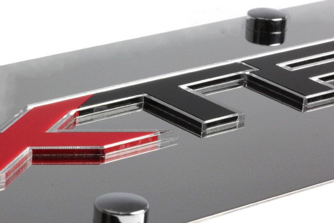 Eurosport Daytona Stainless Steel Ford XTR Badge Mirror Red Black 4x4 License Plate Frame Novelty