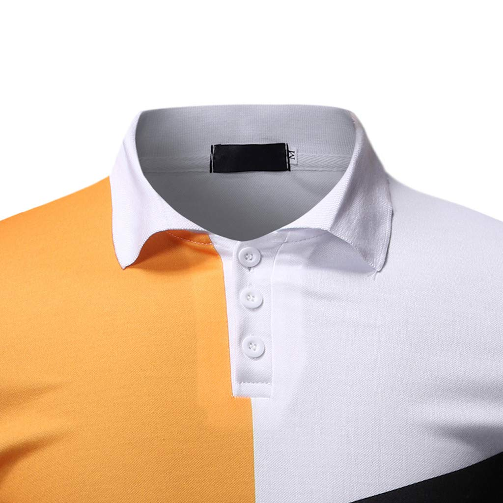 Misaky Polo Shirts for Men Plus Size Tops Summer Casual Stripes Splicing Lapel Short Sleeve Open Up Blouse Tee
