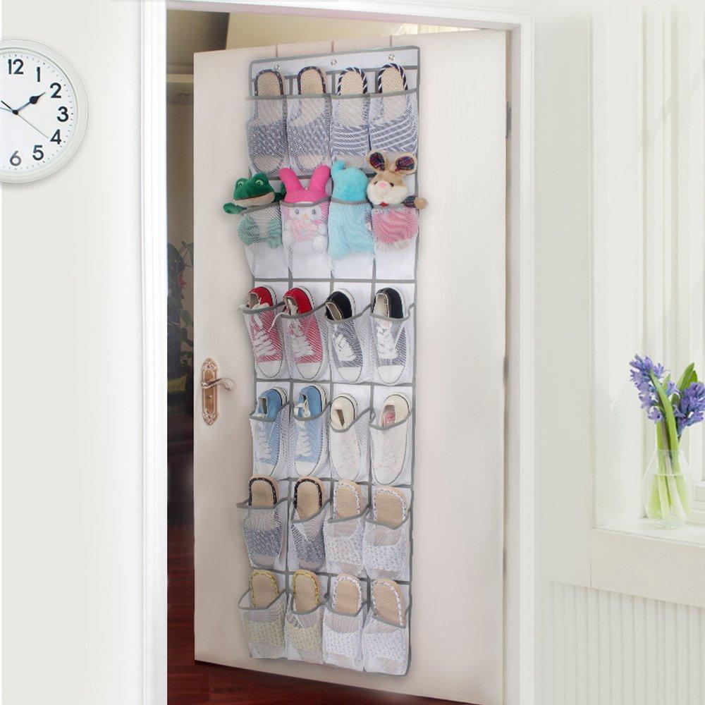 24 Pockets – Over the Door Hanging Shoe Organizer, Large Fabric Nylon Mesh Storage Pockets Closet Accessory Hanging Shoe Hanger, Complete With Customized Metal Closet Door Shoe Organizer Hooks