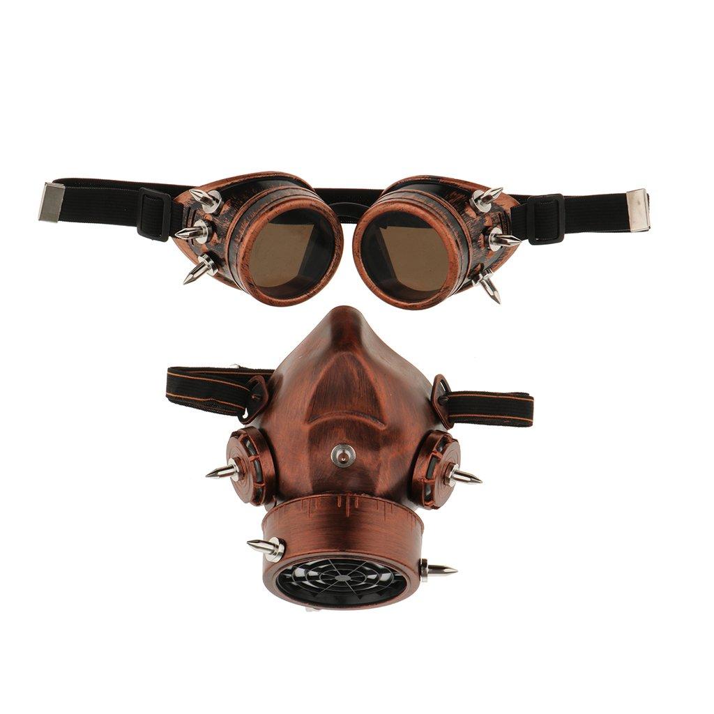 Sharplace Elastischer Verschluss Maske für Männer mit Augenbrillen, Unisex Vintage Party Accessoires - Antikes Kupfer