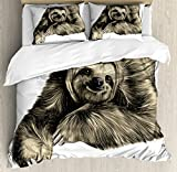 Ambesonne Sloth Duvet Cover Set Queen Size, Sweetly Smiling Jungle Animals Lying Down with Crossed Legs Tropic Fauna Sketch, Decorative 3 Piece Bedding Set with 2 Pillow Shams, Ivory Black