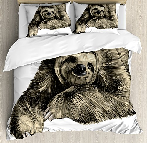 Ambesonne Sloth Duvet Cover Set King Size, Sweetly Smiling Jungle Animals Lying Down with Crossed Legs Tropic Fauna Sketch, Decorative 3 Piece Bedding Set with 2 Pillow Shams, Ivory Black