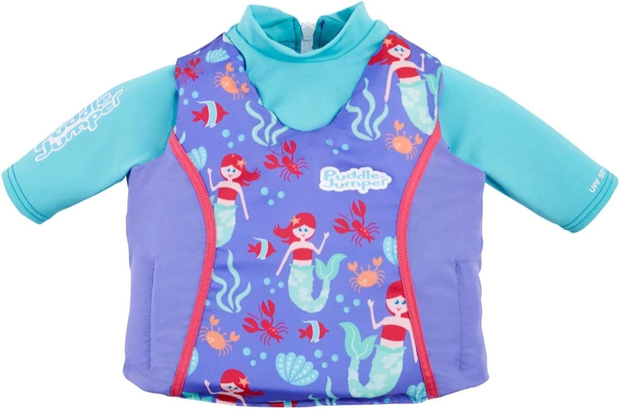 Puddle Jumper Kids 2-in-1 Life Vest and UPF 50+ Rash Guard for Children 33-55 Pounds, Mermaid