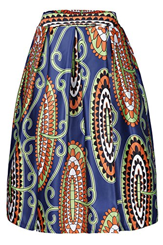 La La Print Skirt - Annflat Women's African Print Knee Length Flare Skirts with Pockets X-Large Navy