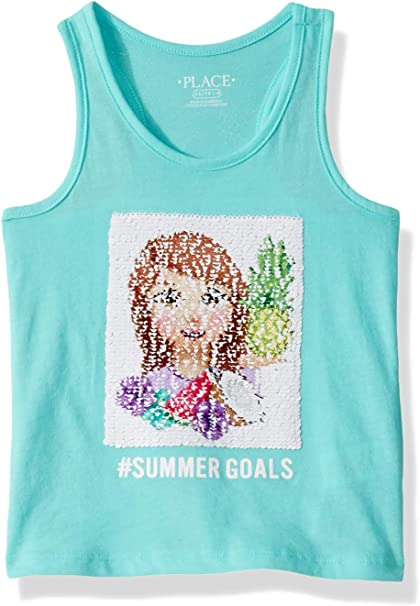 The Childrens Place Baby Girls Novelty Graphic Matchable Tank Tops
