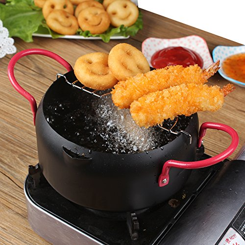 Mini Deep Fryer with Filter, Nonsticker Small Tempura Frying Pot with Greaseless for French Fries, Chicken, Shirmp, 6.3 Inches by Valuetools