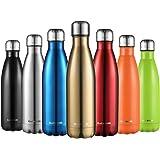 CMXING Bottiglia Termica, 500ml/ 750ml Doppia Parete Borraccia Acciaio Inox, Non Tossico BPA Gratuito Sport Borracce Bottiglia Acqua