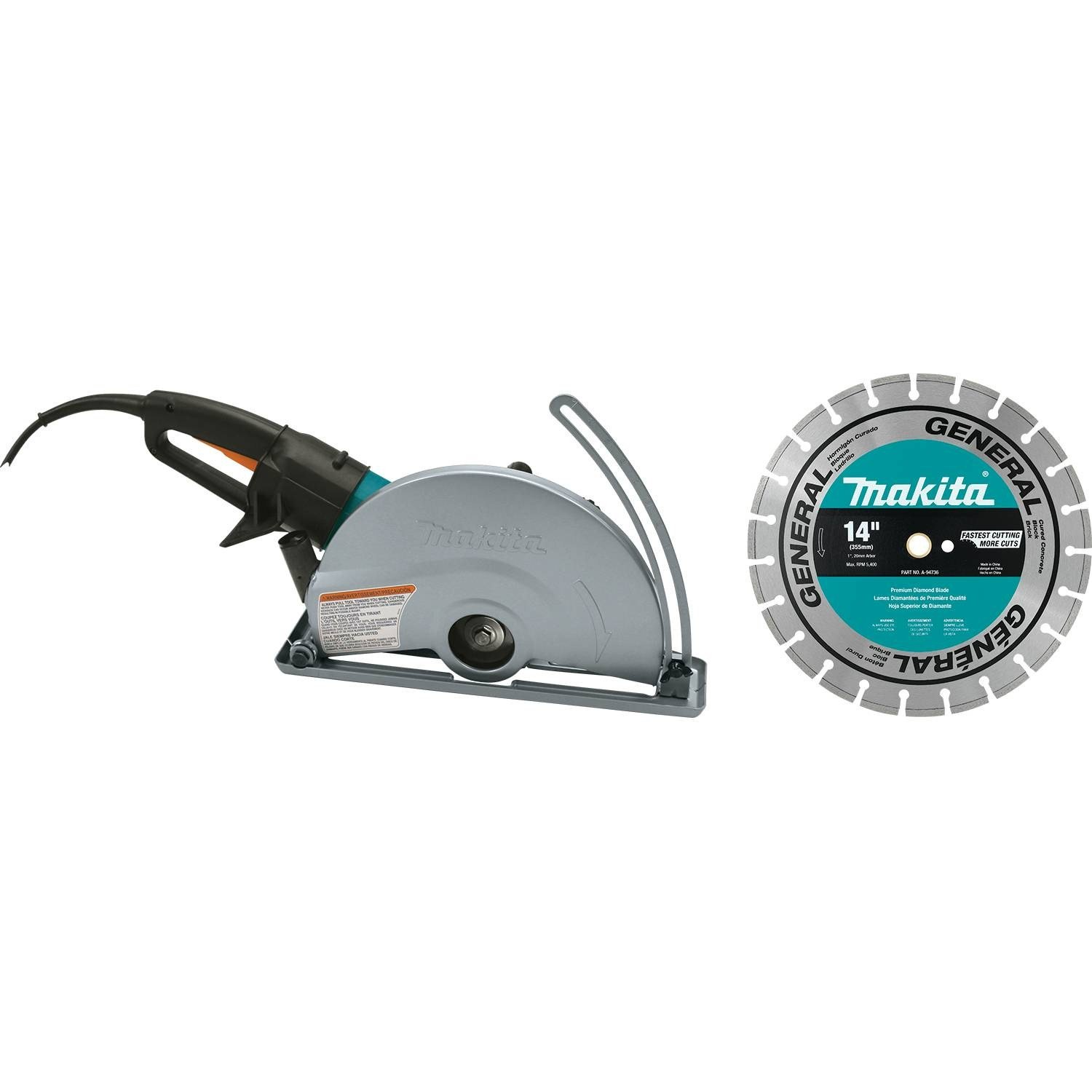 Makita 4114X 14'' Electric Angle Cutter, with 14'' Diamond Blade by Makita