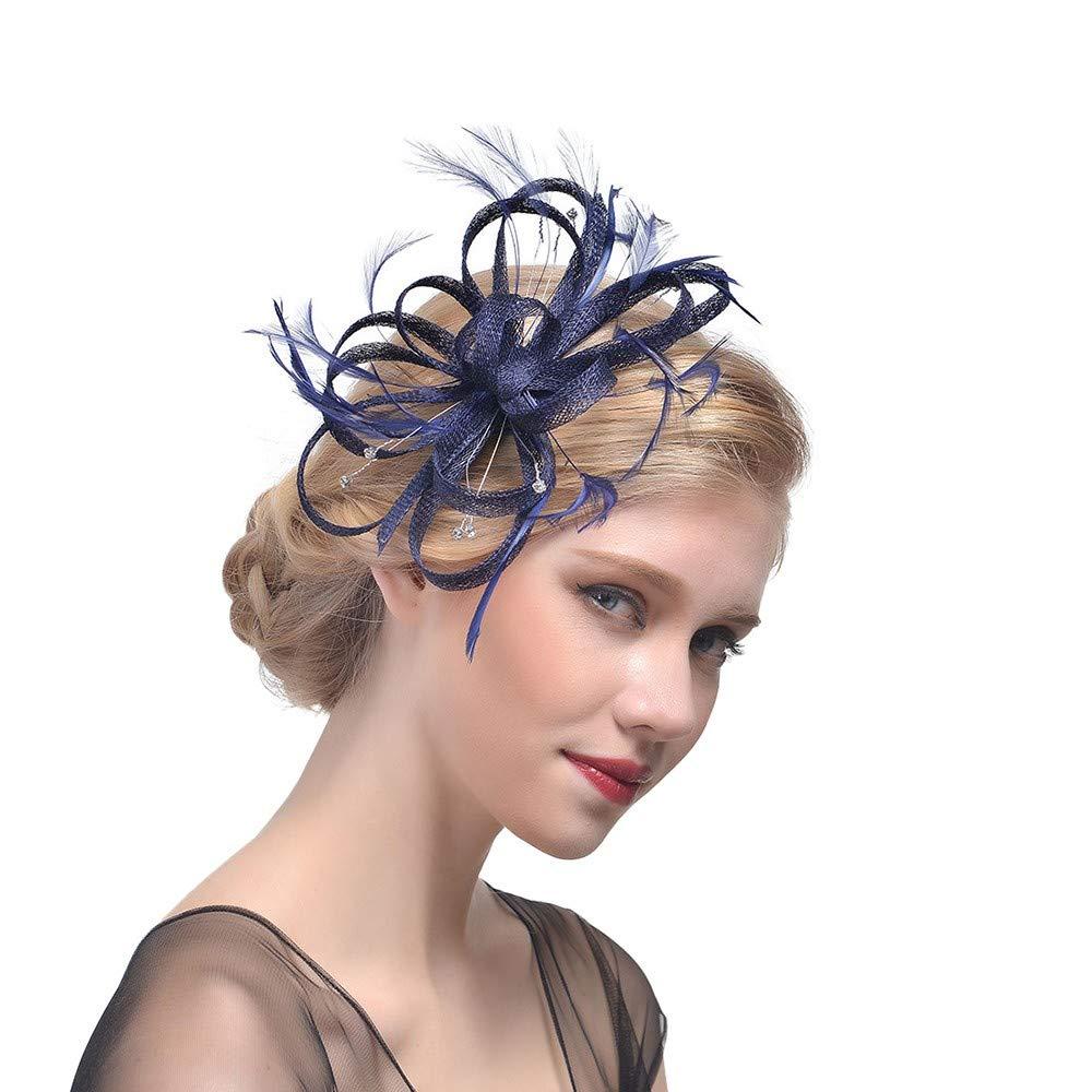 LeeMon Mesh B/änder Federn Stirnband Cocktail Tea Party Hut Kopfbedeckung Blume Feder Kopfbedeckung