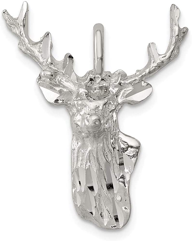 925 Sterling Silver Deer Head Pendant Charm Necklace Animal Man Fine Jewelry For Dad Mens Gifts For Him