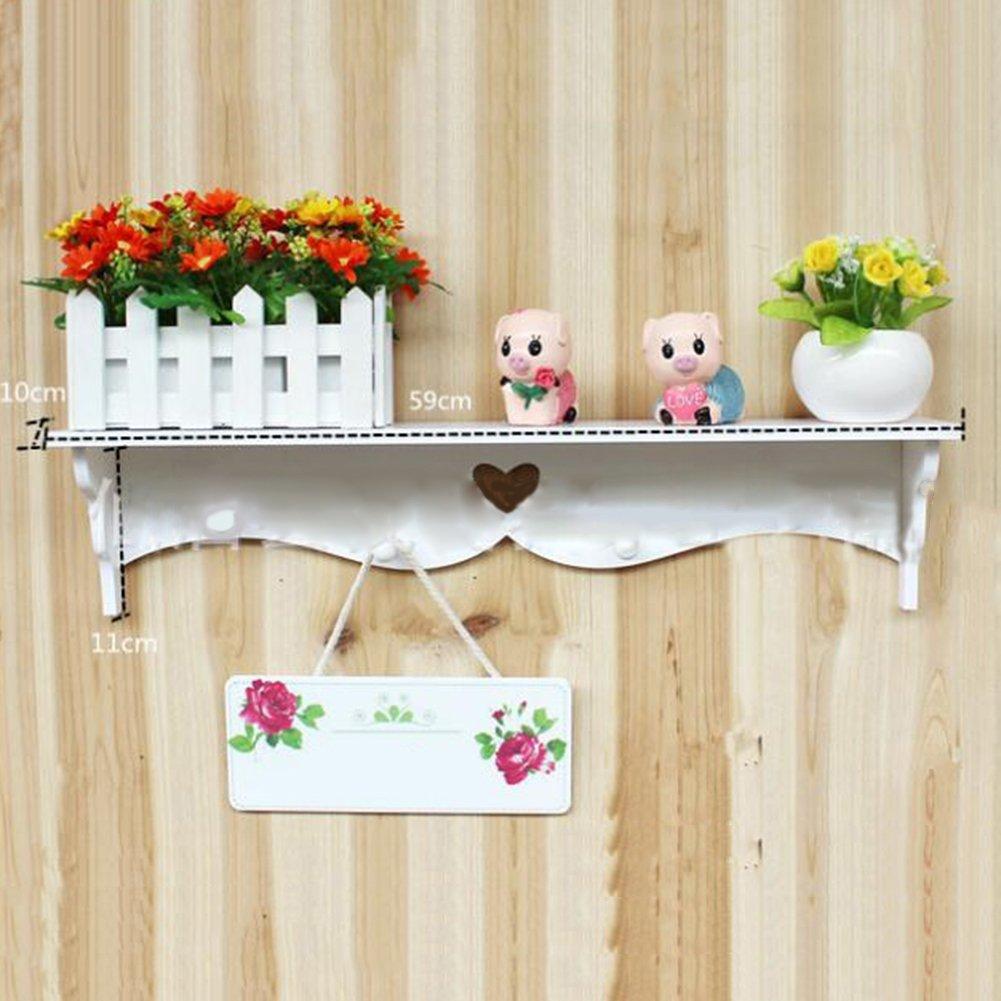 AIHOMETM Mensola da parete, legno, montaggio a parete, elegante decorazione galleggiante per Mensola portaoggetti multiuso, colore: bianco