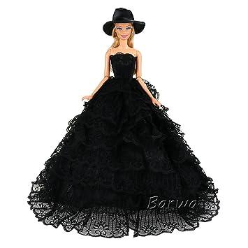 Miunana 1x Princesa Vestido de noche con Encaje Vestir Ropa de Fiesta + 1 Sombrero Accesorios