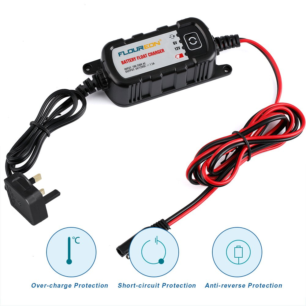 FLOUREON 1.5Amp 6V/12V Car Battery Charger and Maintainer with 5 Steps Fully Auto Detect Charging for Cars, Motorcycles, ATVs, RVs, Powersports, Boat, Rescue and Recover Lead Acid Batteries