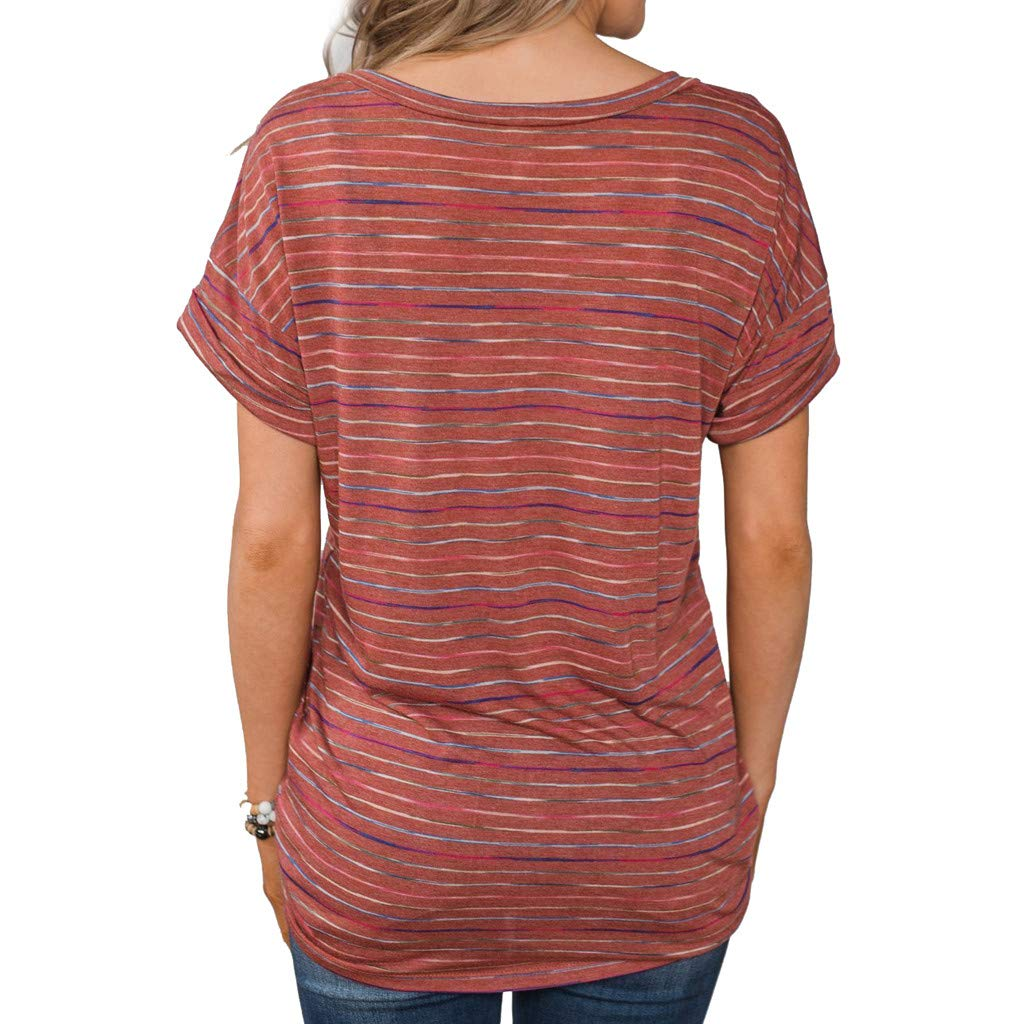 Short Sleeve Tee Blouse for Women,Amiley Women Stripes Short Sleeve T Shirts Colorful V Neck Casual Tops Blouse (X-Large, Red) by Amiley Womens Short Sleeve Tops (Image #3)